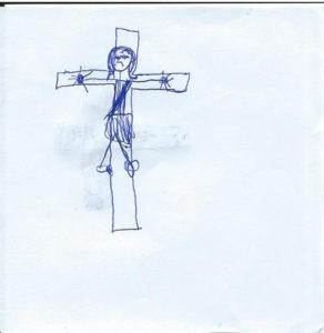 Jesus am Kreuz gemalt von einem Flüchtlingskind